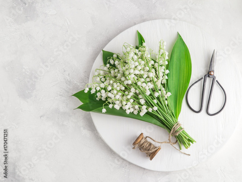 Poster Muguet de mai Lily of the valley flowers on white wooden tray, top view, square image