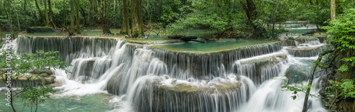 Tuinposter Watervallen Huai Mae Khamin Waterfall (Sixth floor), tropical rainforest at Srinakarin Dam, Kanchanaburi, Thailand.Huai Mae Khamin Waterfall is the most beautiful waterfall in Thailand. Unseen Thailand