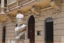 Bust Statue Of Former Communist Cuban President Fidel Castro In Havana, Cuba.