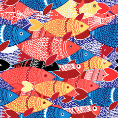 Obraz na SzkleSeamless pattern of colorful fish