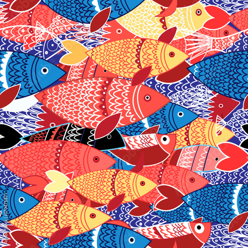 Spoed Foto op Canvas Kunstmatig Seamless pattern of colorful fish