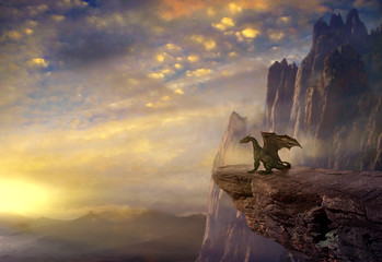 Fantasy dragon on the rock.3D rendering