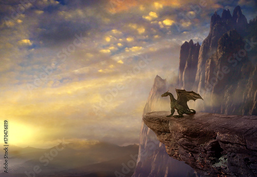 Plakat Fantasy dragon on the rock.3D rendering