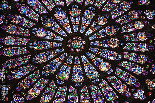 Aluminium Prints Stained Stained glass from Notre Dame detail