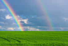 Double Rainbow In The Blue Cloudy Dramatic Sky Over Green Field Of Wheat Illuminated By The Sun In The Country Side