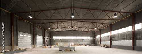 Fototapeta Hangar for storage. Industrial warehouse. obraz