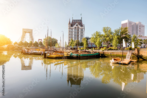 Foto op Canvas Rotterdam View on the Oude haven historical centre of Rotterdam city during the sunny weather