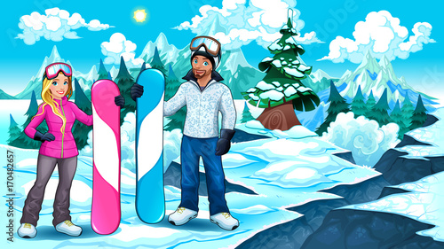 Staande foto Kinderkamer Snowboarders boy and girl on the mountain