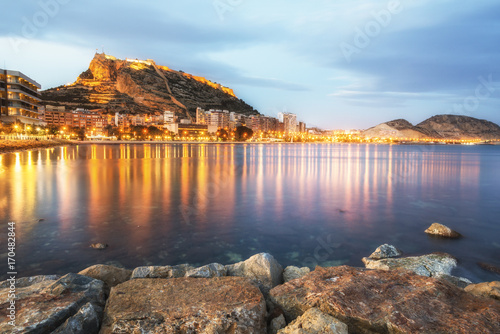 Colorful burning lights of Alicante at the night, Costa Blanca, Valencia province. Spain.