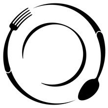 Abstract Logo Of A Cafe Or Restaurant. A Spoon And Fork On A Plate. A Simple Outline.
