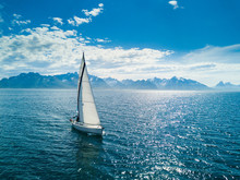 Aerial View Of Sailing Yacht I...