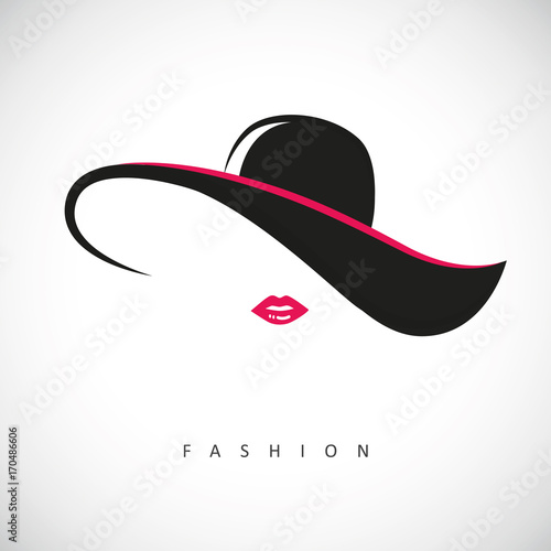 Tablou Canvas fashion lady mit hut und pinken lippen