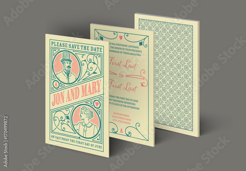 Vintage Playing Card Wedding Invitation Layout Kaufen Sie Diese