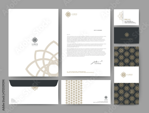 Fototapeta Branding identity template corporate company design, Set for business hotel, resort, spa, luxury premium logo, vector illustration obraz