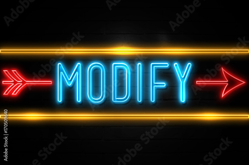 Photo  Modify  - fluorescent Neon Sign on brickwall Front view