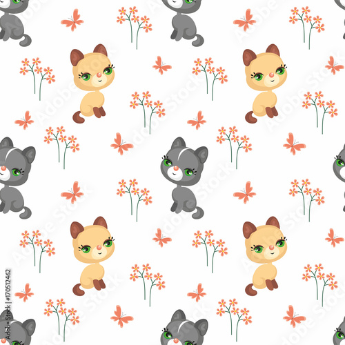 Wall Murals Cats Vector colorful seamless pattern with the image of cute pets in cartoon style.