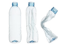 Set Of Recycled Plastic Bottles Isolated On White
