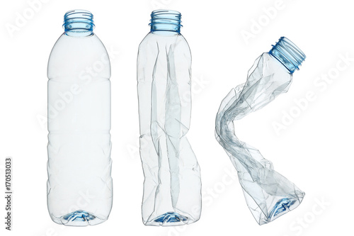 Fotografia, Obraz  set of recycled plastic bottles isolated on white