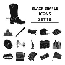 USA Country Set Icons In Black Style. Big Collection Of USA Country Vector Symbol Stock Illustration