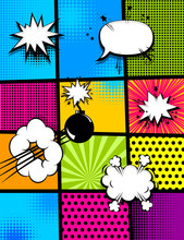 Vertical Pop Art Comics Book Magazine Cover Template. Cartoon Funny Vintage Strip Comic Superhero Text, Speech Bubble, Balloon, Box Message, Burst Bomb. Vector Halftone Illustration. Blank Graphic.