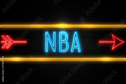 Photo  Nba  - fluorescent Neon Sign on brickwall Front view