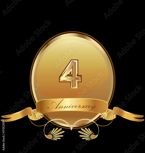 фотография  4th golden anniversary birthday seal icon vector