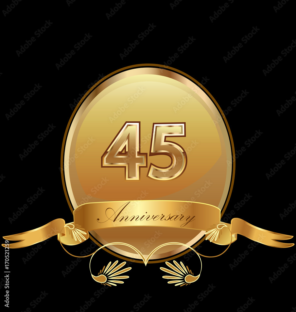 фотография  45th golden anniversary birthday seal icon vector