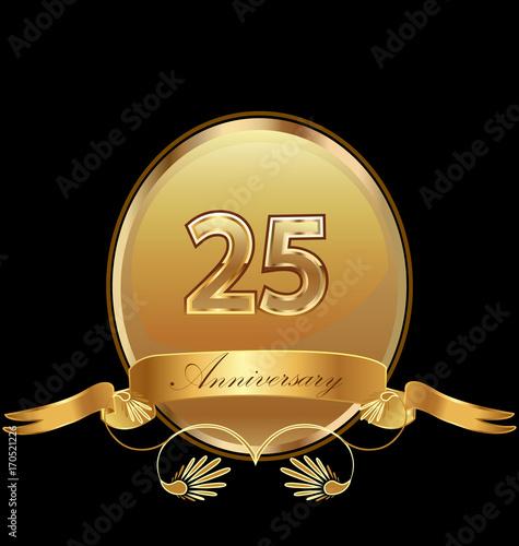фотография  25th golden anniversary birthday seal icon vector