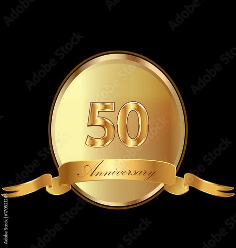 фотография  50th golden anniversary birthday seal icon vector