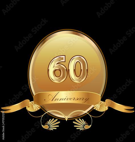 Платно  60th golden anniversary birthday seal icon vector