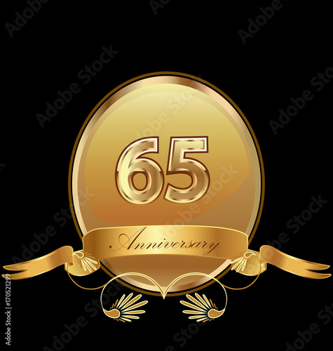 фотография  65th golden anniversary birthday seal icon vector