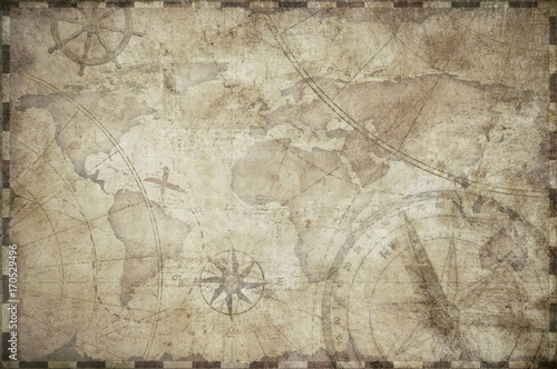 Photo Stands World Map treasure map toned background illustration