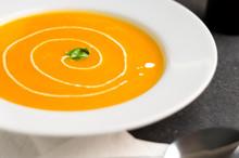 Pumpkin Soup With Cream Swirl....