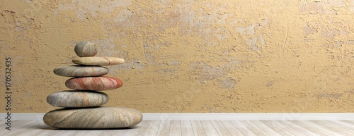 Zen stones stack in a room. 3d illustration