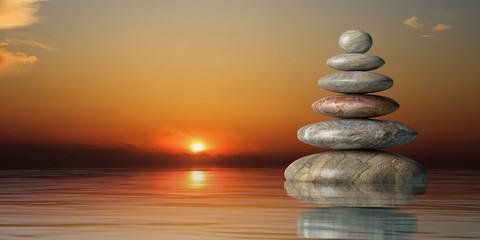 Panel Szklany Japoński Zen stones stack at sunset. 3d illustration