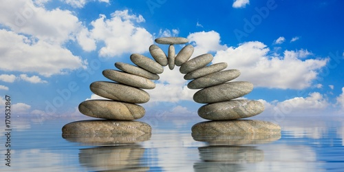 Photo  Zen stones on blue sea and sky background. 3d illustration