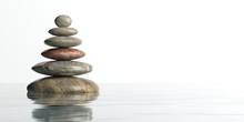 Zen Stones On White Background. 3d Illustration