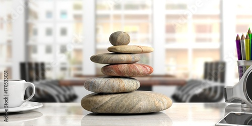 Zen stones stack on a desk, office background. 3d illustration Wallpaper Mural