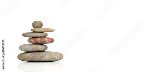 Zen stones on white background. 3d illustration