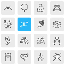 Vector Illustration Of 16 Engagement Icons. Editable Pack Of Pigeon, Wedding Gown, Engagement And Other Elements.