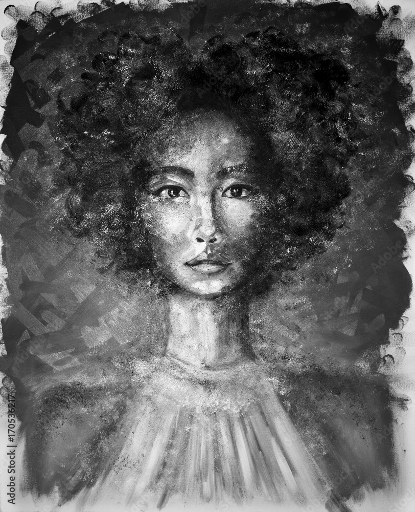 Portrait of a girl black and white oil painting