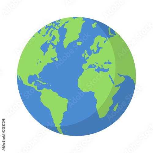 Photo  Planet earth or world globe with oceans and water flat vector color icon for app