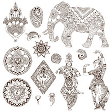 Elephant, Dancers, Mandalas, Hamsa, Flowers In The Mehendi Style. Set Of Ornate Elements For Design.