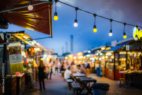 Decorative Outdoor String Lights Hanging On Electricity Post In The