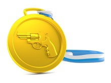 Gold Medal With Gun