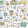Seamless school pattern. Background with hand drawn school and education illustrations and symbols. Color pattern design