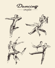 Set Dancing Couples, Hand Draw...