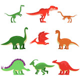 Fototapeta Dinusie - Cute cartoon dinosaur animals set, prehistoric and jurassic monster colorful vector Illustrations