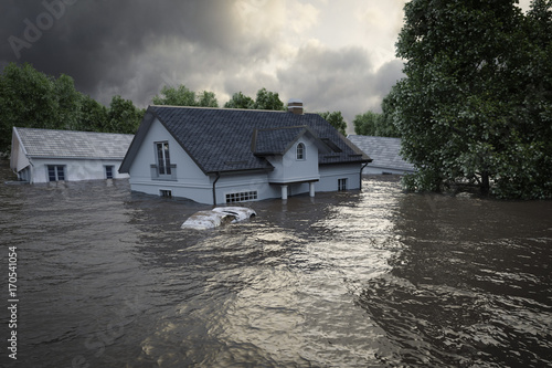 Photo 3d rendering. flooding houses