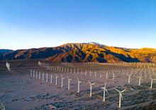 San Gorgonio Pass Wind Farm At Sunrise
